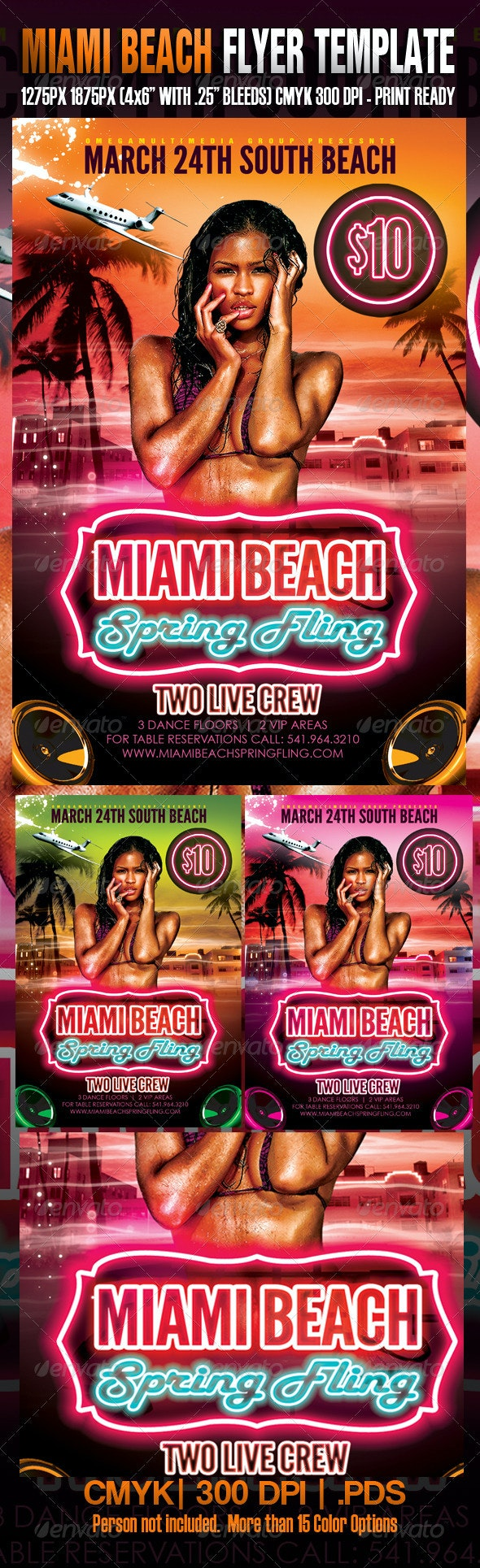 Miami Spring Fling Template - Flyers Print Templates
