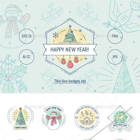 Christmas and New Year Thin Line Badges Set