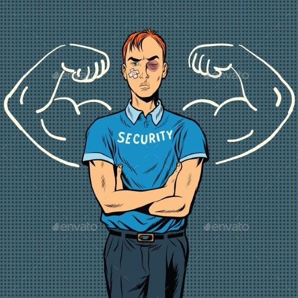 Thin Beaten Security Guard Dreams of Power