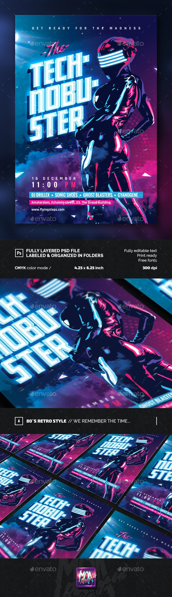 Techno Buster Party Flyer Template - Clubs & Parties Events