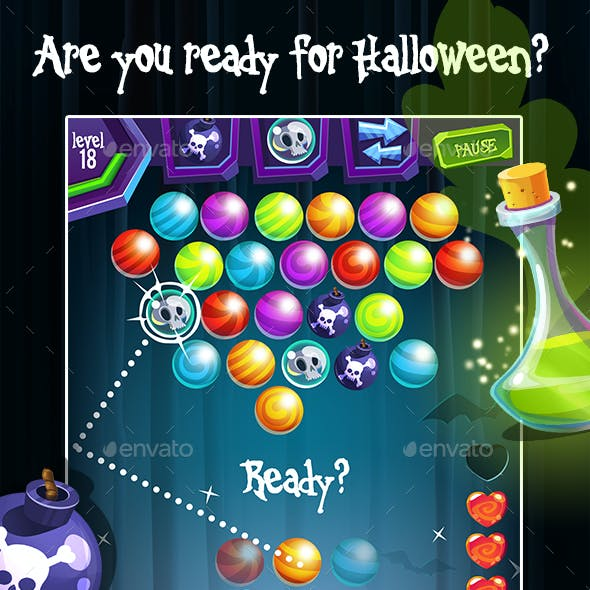 Halloween Bubble Shooter Full Game Set