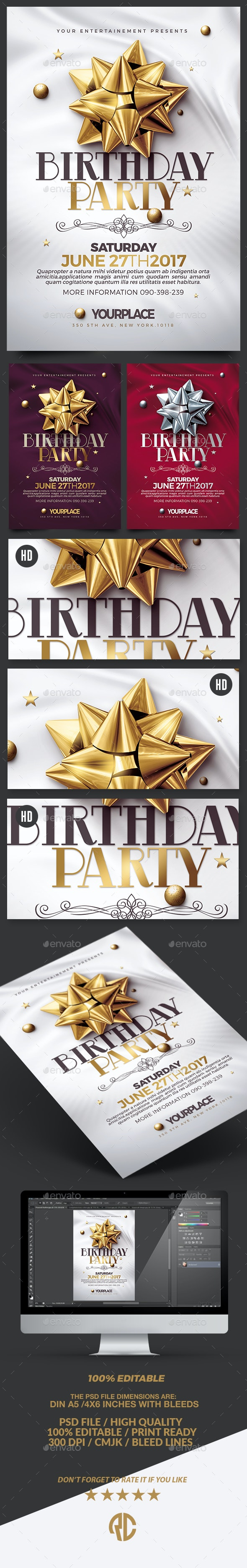 Birthday Party | 3 Psd Flyer Templates - Events Flyers
