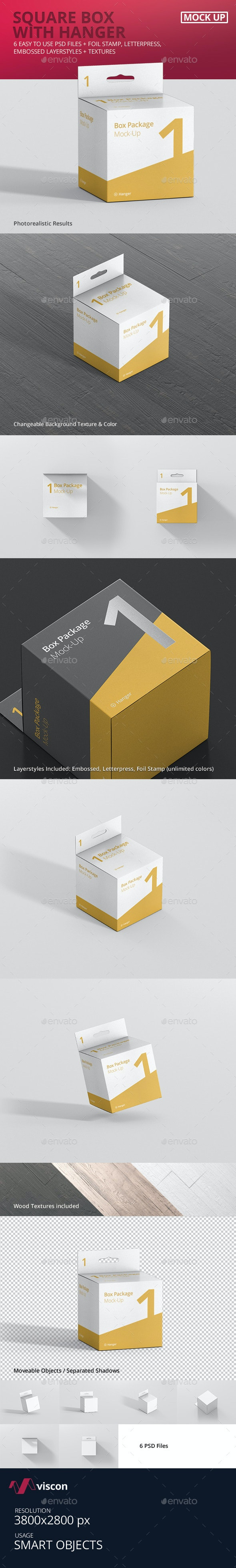 Package Box Mock-Up - Square with Hanger - Miscellaneous Packaging