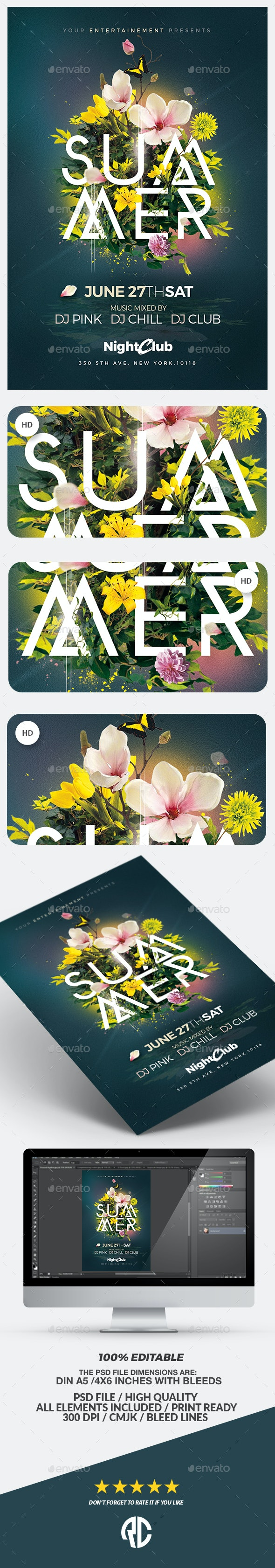 Summer Party | Psd Flyer Template - Events Flyers