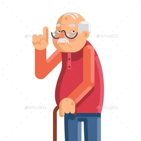 Old Man Grandfather Adult Flat Design