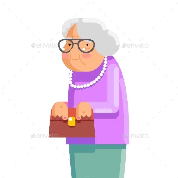 Grandmother Old Adult Flat Design Vector