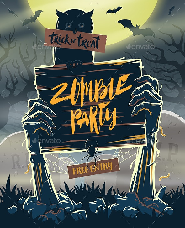 Zombie Party Invitation- Vector Illustration - Halloween Seasons/Holidays