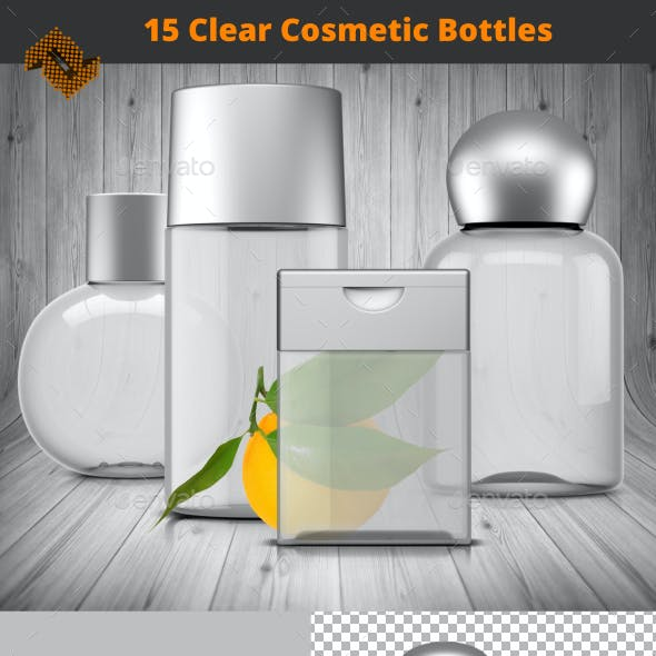 15 Isolated Clear Plastic Cosmetic Bottles