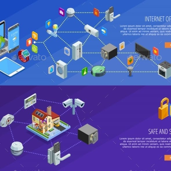 Internet Of Things 2 Isometric Banners