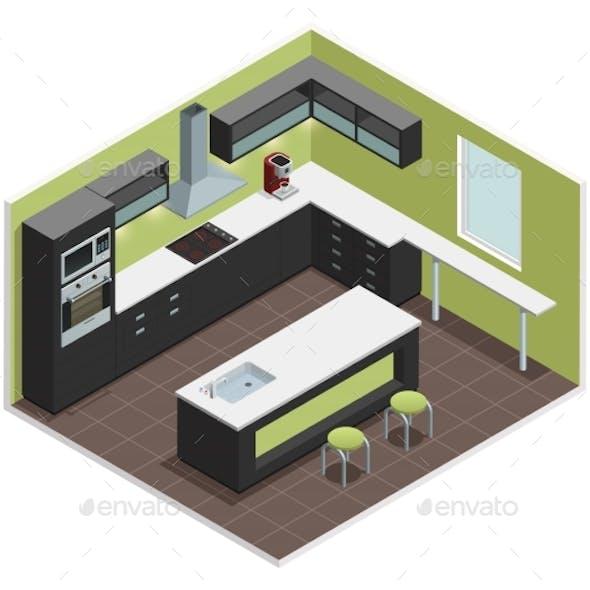 Modern Kitchen Isometric View Image