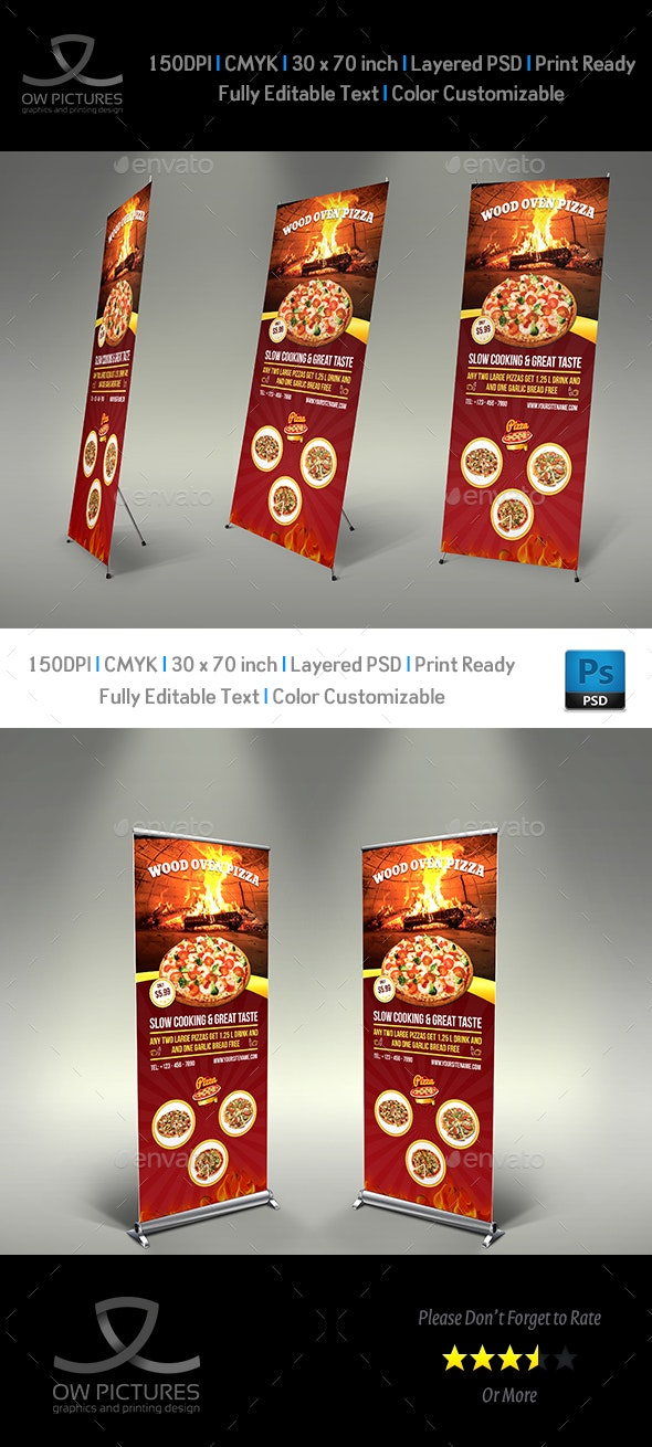 Pizza Restaurant Signage Roll Up Template Vol2 - Signage Print Templates