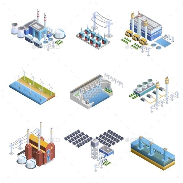 Electricity Generation Plants Images Set