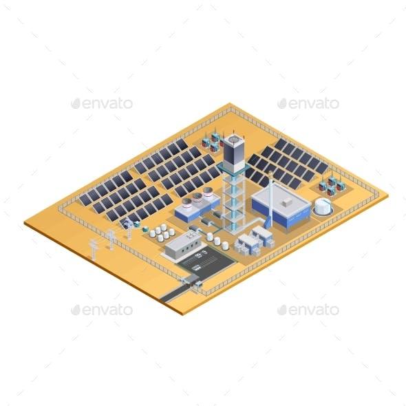 Solar Station Model Isometric Image