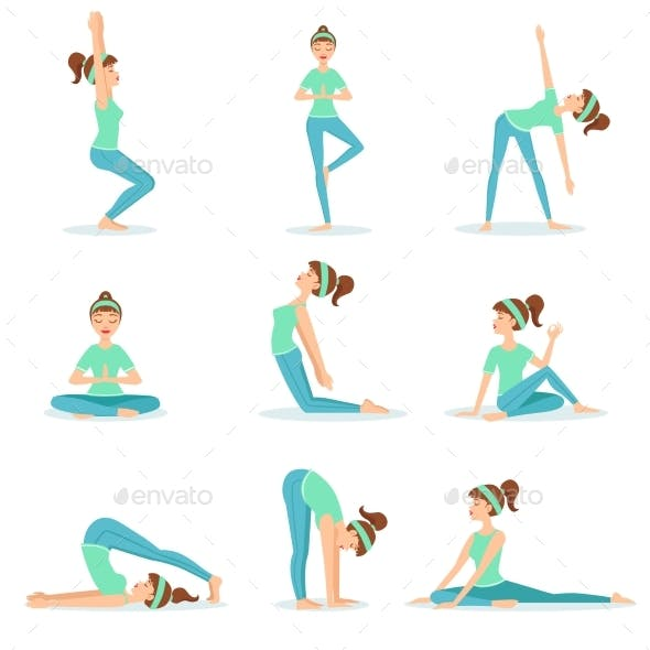 Girl in Blue Training Clothes Demonstrating Yoga