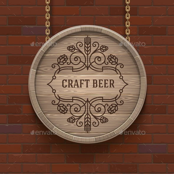 Wooden Cask Signboard with Flourishes Beer Emblem