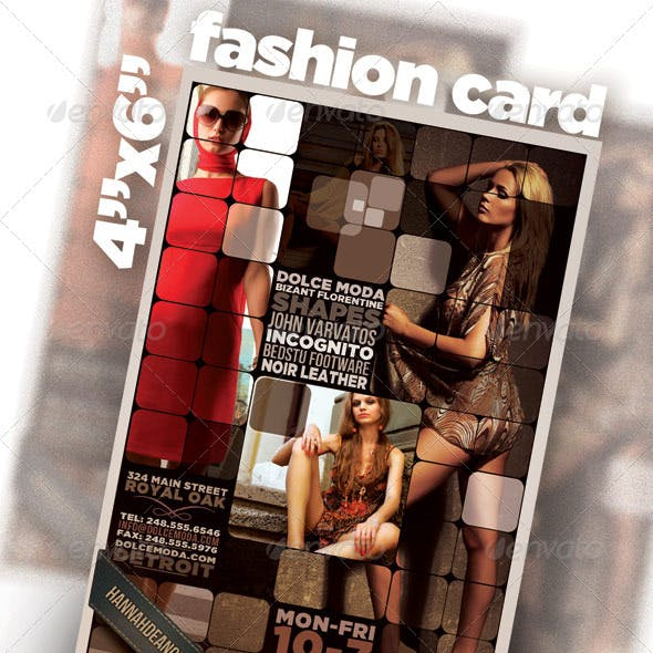 "4""x6"" card / flyer with Fashion Theme"