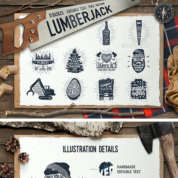 Lumberjack. Vintage Badges (Part 2)