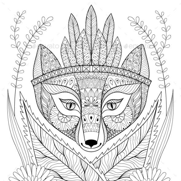Zentangle Wild Fox with Indian War Bonnet in Grass