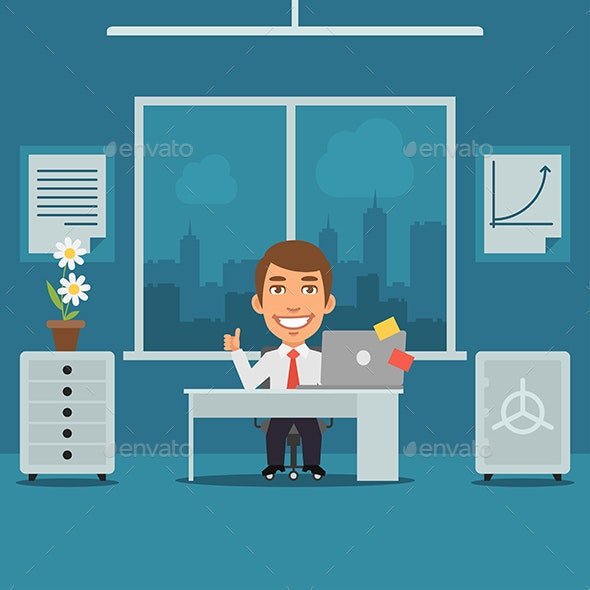 Businessman Sitting in Office and Showing Thumbs Up - Concepts Business