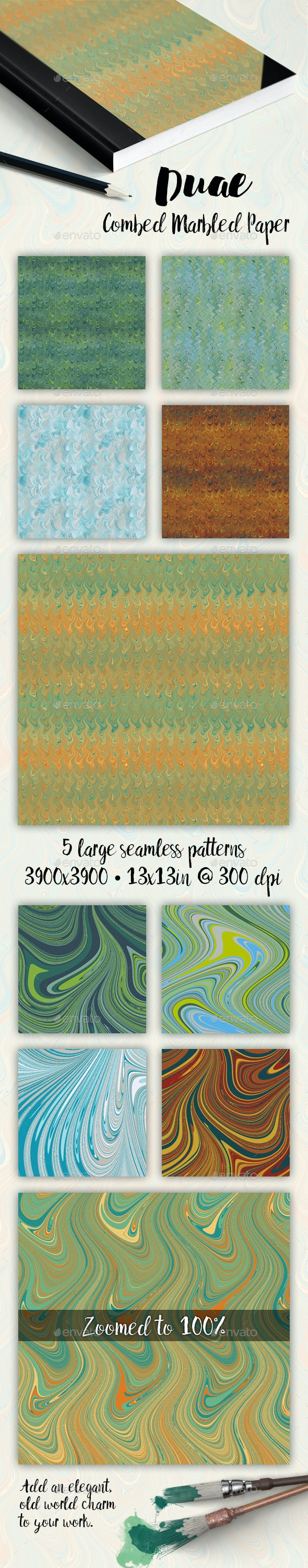Combed Marbled Paper - Duae - Patterns Backgrounds