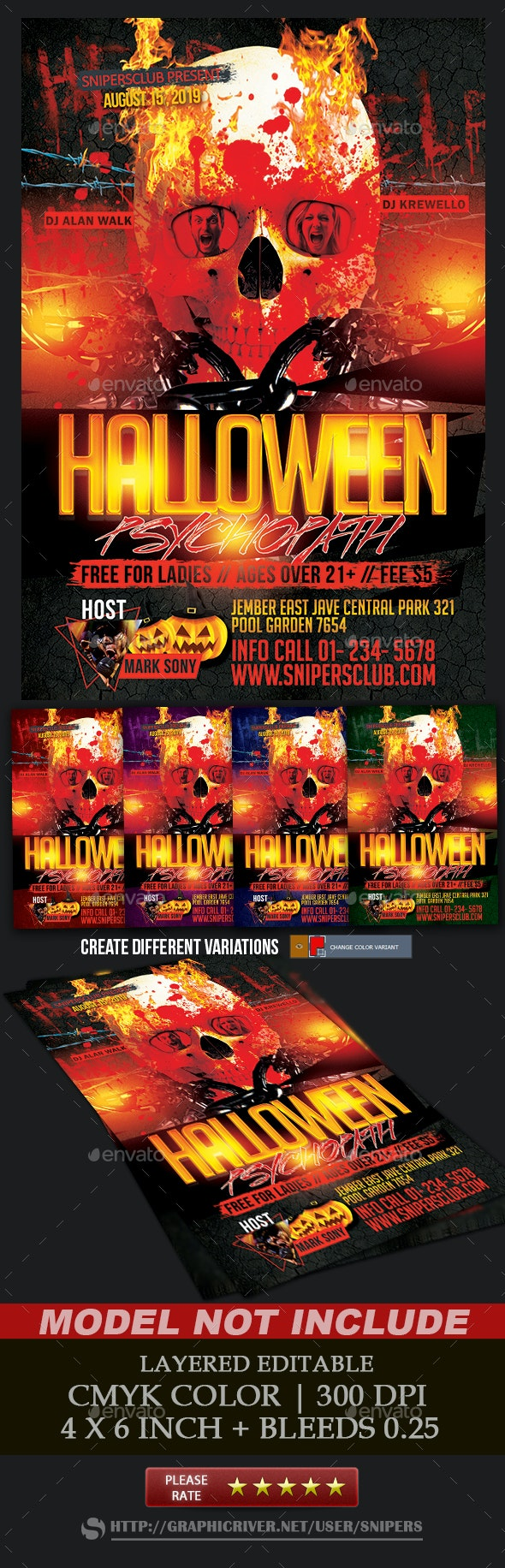 Halloween Psychopath Party - Events Flyers