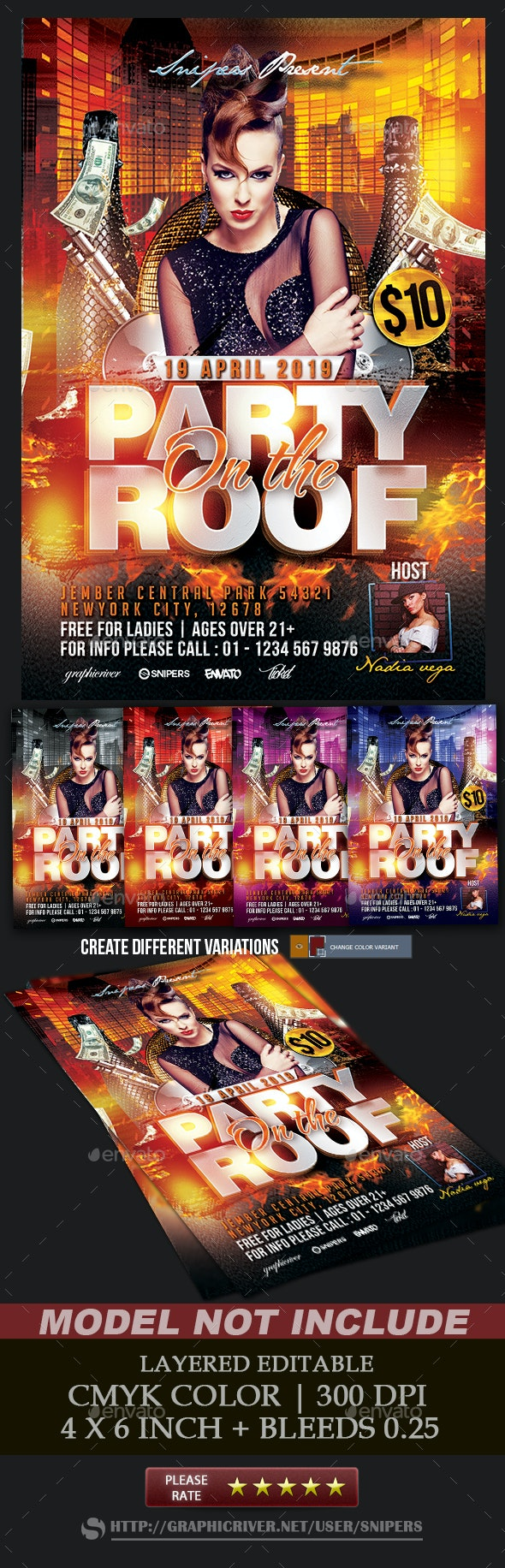 Party On The Roof - Events Flyers