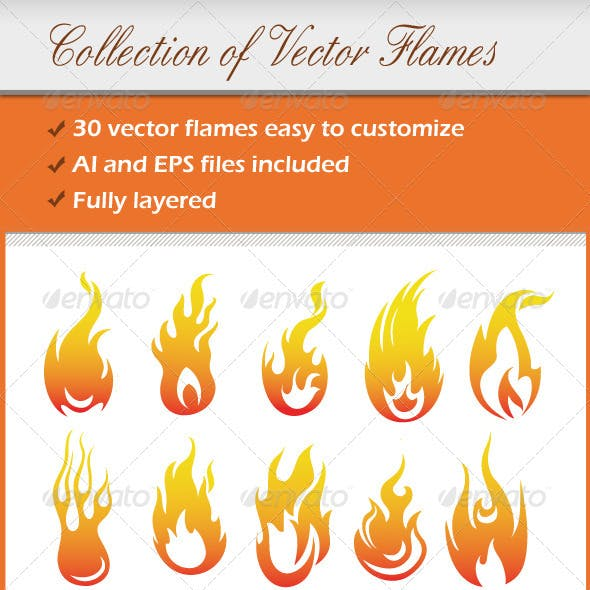 Collection Of Vector Flames