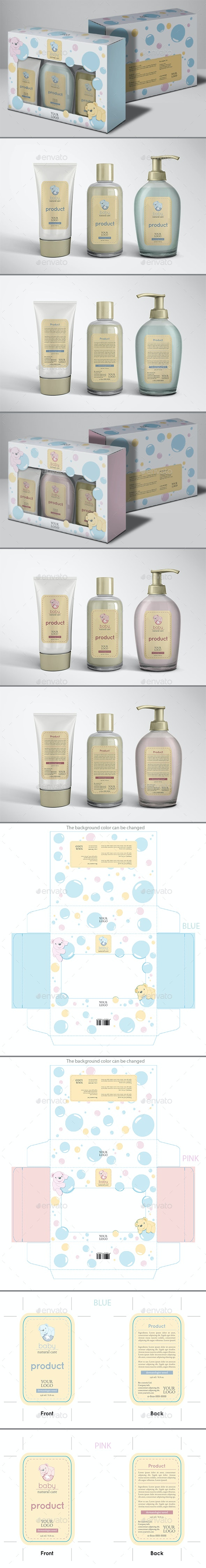 Baby Bubbles Box and Label - Packaging Print Templates
