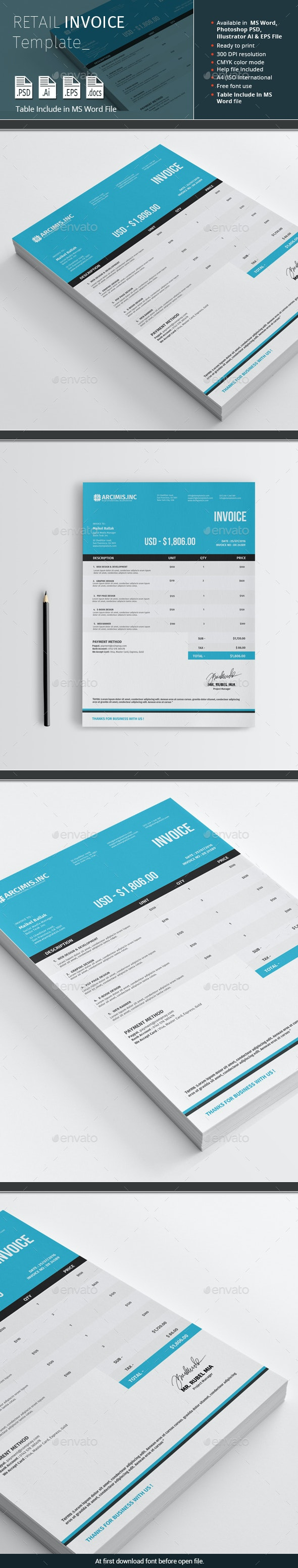 Retail Invoice Template - Proposals & Invoices Stationery