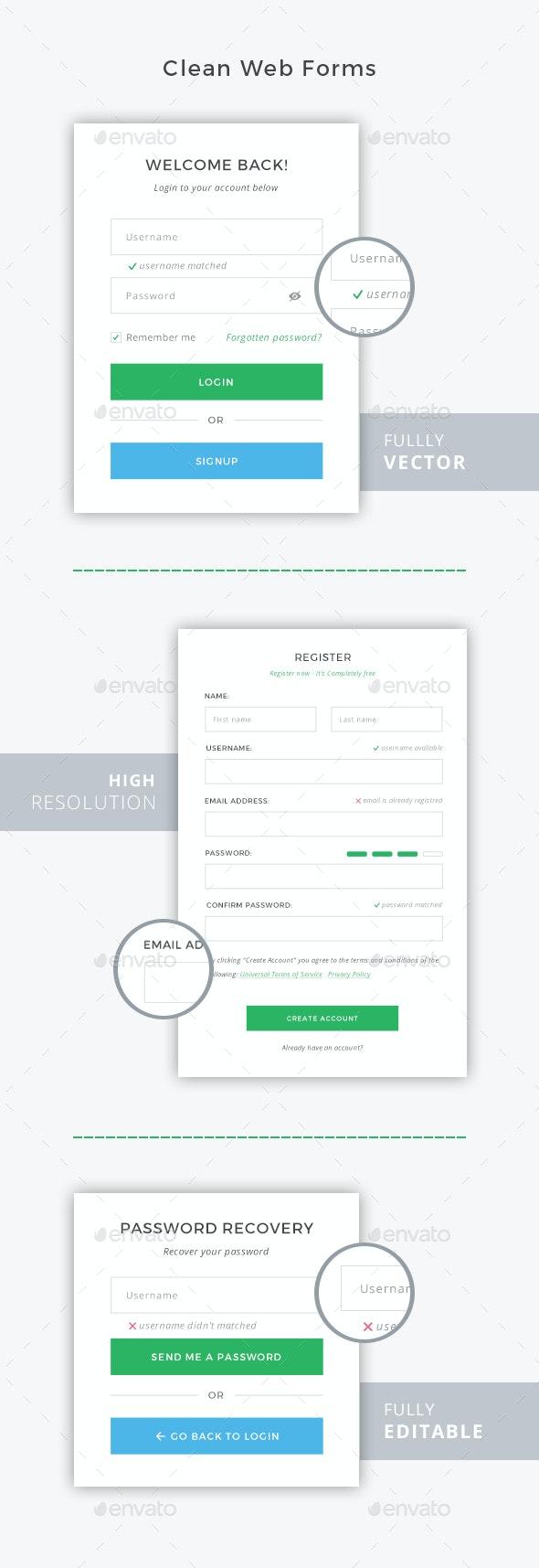 Clean Web Forms - Forms Web Elements
