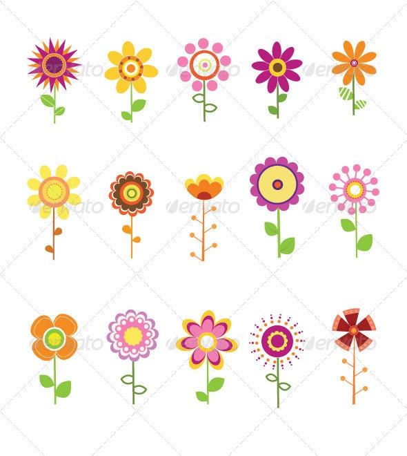 Retro Flower Set - Decorative Symbols Decorative