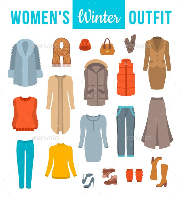 4e4d02ed02 Women Winter Clothes Flat Style Design Elements - Man-made Objects Objects