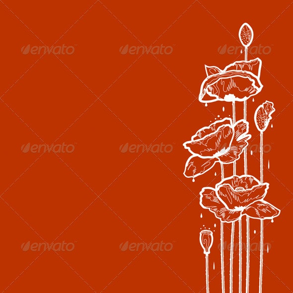 Poppies After Rain - Flourishes / Swirls Decorative