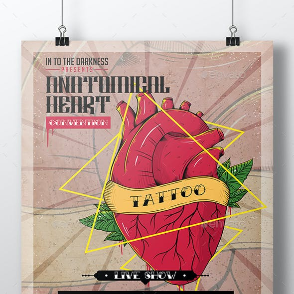 Heart Tattoo Flyer Template