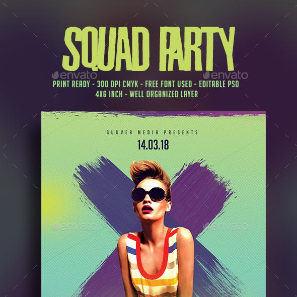 Squad Party Music Flyer