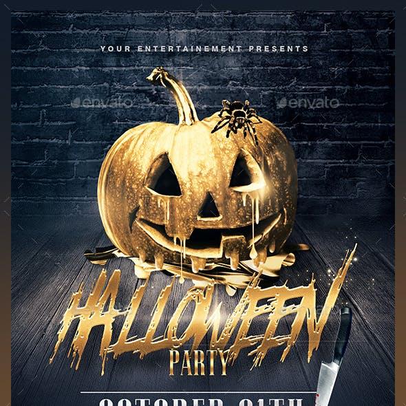 Halloween Party   Gold Pumpkin Template