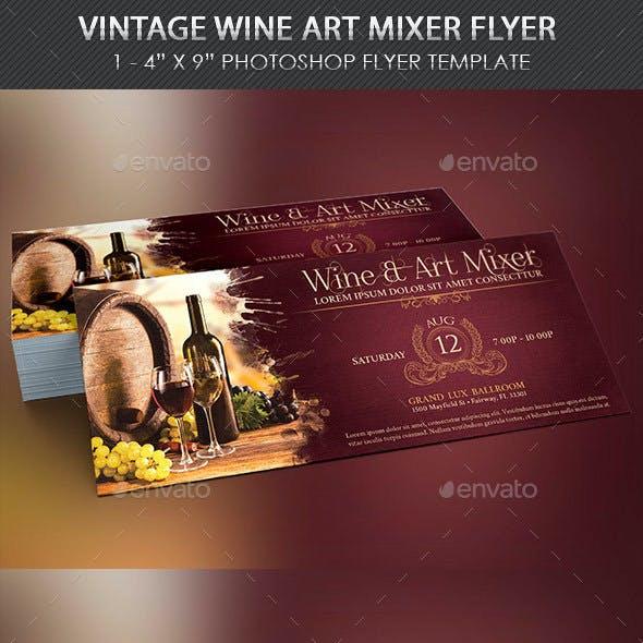 Vintage Wine Art Mixer Flyer Template