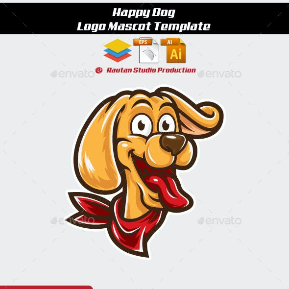 Happy Dog Logo Mascot