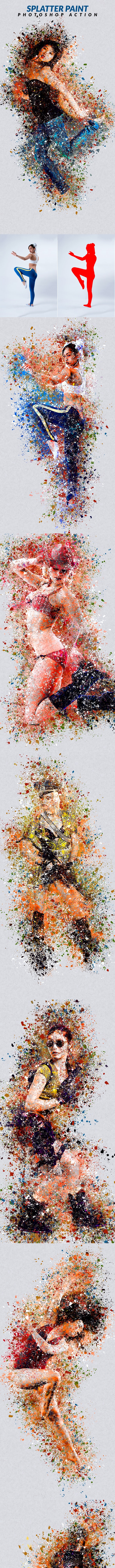 Splatter Paint Photoshop Action - Photo Effects Actions