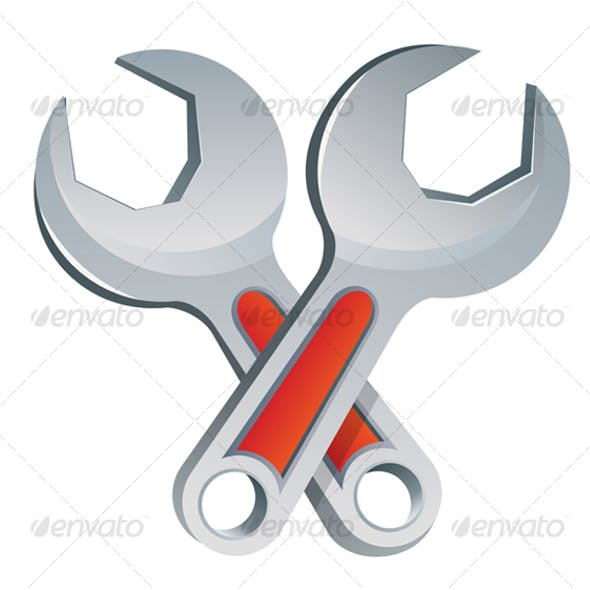 Isolated wrench symbol