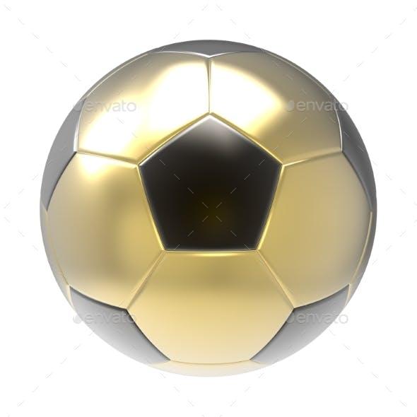 Gold Soccer Ball 3D Render