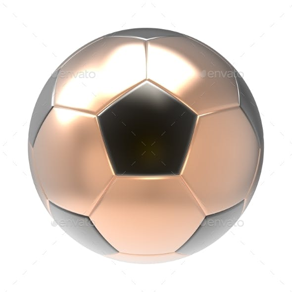 Bronze Soccer Ball 3D Render