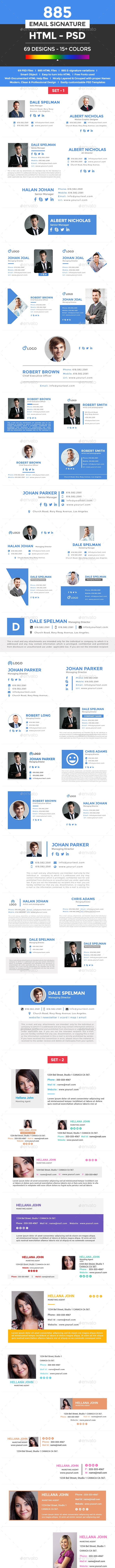 885 Flat & Modern Email Signatures - HTML & PSD Files - Miscellaneous Social Media