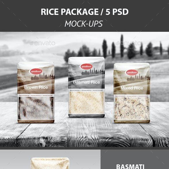 Rice Package Mock-Up / 5 PSD