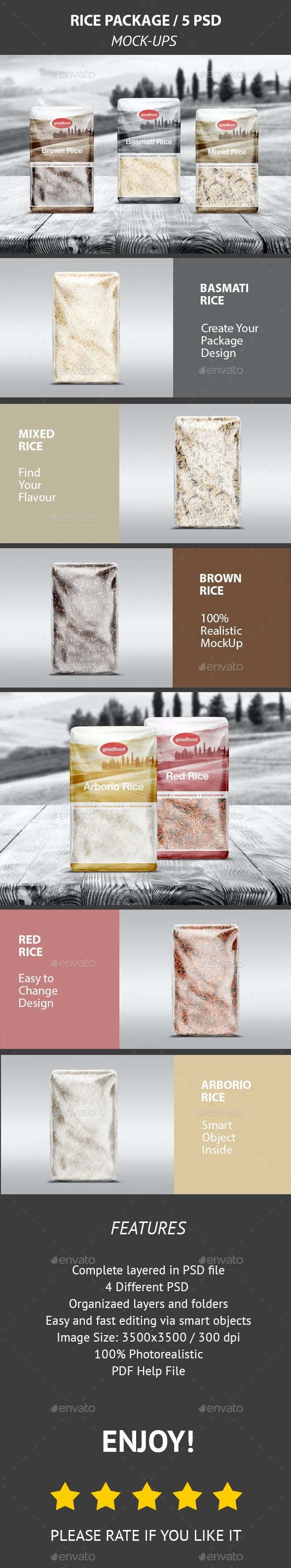 Rice Package Mock-Up / 5 PSD - Food and Drink Packaging