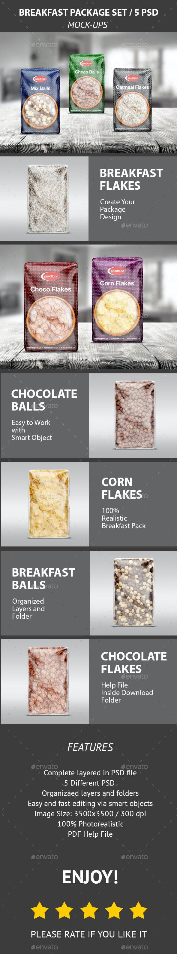 Breakfast Package Set Mock-Up / 5 PSD - Food and Drink Packaging