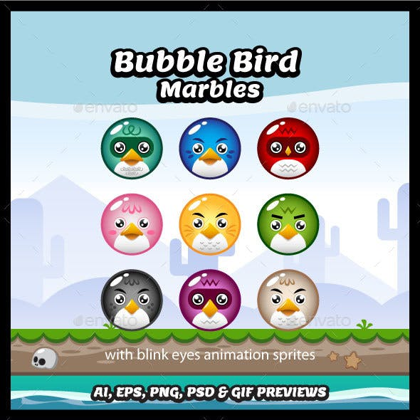 Bubble Bird Game Marble Characters