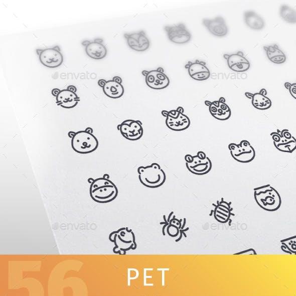 Pet Line Icons Set