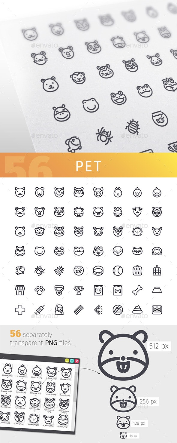 Pet Line Icons Set - Animals Characters