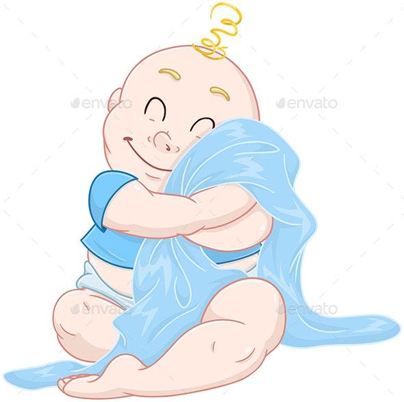 Baby Boy Hugs Blue Blanket - People Characters